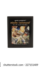 ADELAIDE, AUSTRALIA - October 27, 2014: A Studio shot of an Atari 2600 Missile Command Game Cartridge. A popular video game from the 1980's is popular with collectors and retro gamers worldwide.
