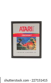 ADELAIDE, AUSTRALIA - October 27, 2014: A Studio shot of an Atari 2600 Centipede Game Cartridge. A popular video game from the 1980's is popular with collectors and retro gamers worldwide.