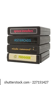 ADELAIDE, AUSTRALIA - October 27, 2014: A Studio shot of a stack of Atari 2600  Game Cartridges. A popular video game from the 1980's is popular with collectors and retro gamers worldwide.