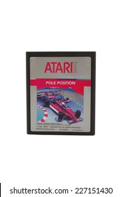 ADELAIDE, AUSTRALIA - October 27, 2014: A Studio shot of an Atari 2600 Pole Position Game Cartridge. A popular video game from the 1980's is popular with collectors and retro gamers worldwide.