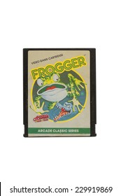 ADELAIDE, AUSTRALIA - October 27, 2014: A Studio shot of an Atari 2600 Frogger Game Cartridge. A popular video game from the 1980's is popular with collectors and retro gamers worldwide.