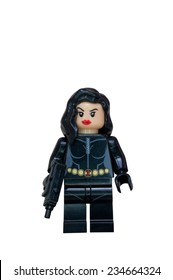 ADELAIDE, AUSTRALIA - October 27 2014:A studio shot of a Black widow Lego Compatible minifigure from the Marvel comics and movies. Lego is extremely popular worldwide with children and collectors.