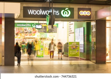 Adelaide, Australia - October 5, 2016: The Woolworths store in Rundle Mall is a popular shopping venue for groceries and assorted items such as magazines, batteries and stationery.