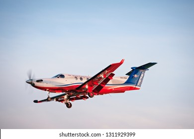 Adelaide, Australia - October 6, 2016: Pilatus PC-12 of Royal Flying Doctor Service aircraft, RFDS Central Operations with registration number VH-FDK landing at Adelaide airport.