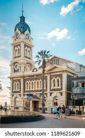 Adelaide, Australia - October 7, 2017: Glenelg Town Hall located at Moseley Square at sunset. Building was designed by Edmund Wright, architect and former Mayor of Adelaide