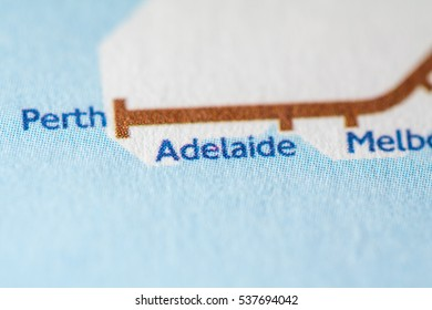 Adelaide, Australia on a geographical map.