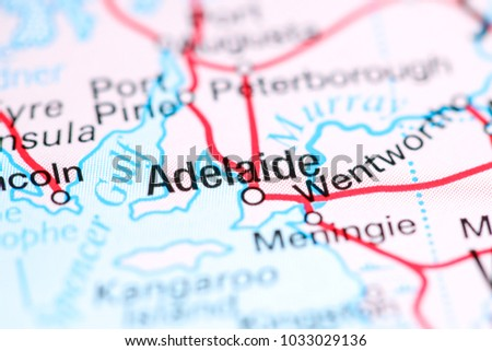 Adelaide Australia On Map Stock Photo Edit Now 1033029136