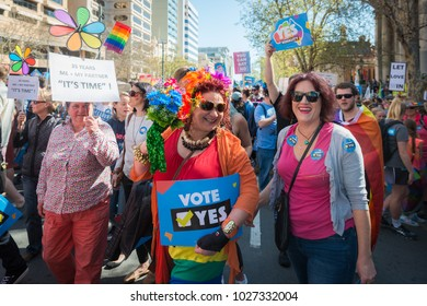 Adelaide, AUSTRALIA - Sep 16 2017:  Adelaide Rally to Support Marriage Equality. Crowd with Yes posters in front of South Australian Parliament