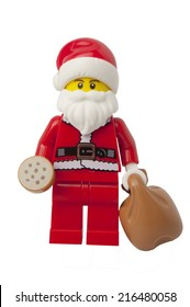 ADELAIDE, AUSTRALIA - September 11 2014:A studio shot of a Santa Claus Lego minifigure issued in the 2014 Lego Advent Calendar. Lego is extremely popular worldwide with children and collectors.