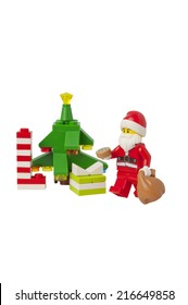 ADELAIDE, AUSTRALIA - September 11 2014:A studio shot of a Lego Christmas Scene issued in the 2014 Lego Advent Calendar. Lego is extremely popular worldwide with children and collectors.