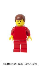 ADELAIDE, AUSTRALIA - September 11 2014:A studio shot of a Townsperson Lego minifigure. Lego is extremely popular worldwide with children and collectors.