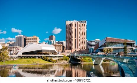 Adelaide, Australia - September 11, 2016: Adelaide city skyline viewed across Elder Park on a bright day