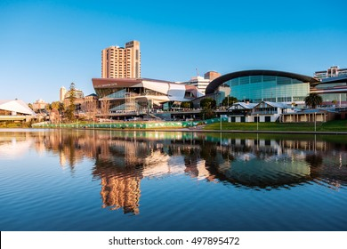 Adelaide, Australia - September 11, 2016: Adelaide city centre viewed from the north side of Torrens river in Elder Park on a bright day