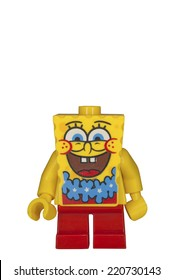 ADELAIDE, AUSTRALIA - September 14 2014:A studio shot of a Spongebob Lego minifigure from the cartoon series. Lego is popular with children and collectors worldwide.
