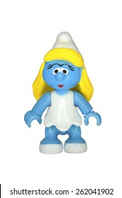 ADELAIDE, AUSTRALIA - September 14 2014:A studio shot of a Smurfette Mega Bloks Figurine from the animated series. The Smurfs are a popular worldwide comic and animated series.
