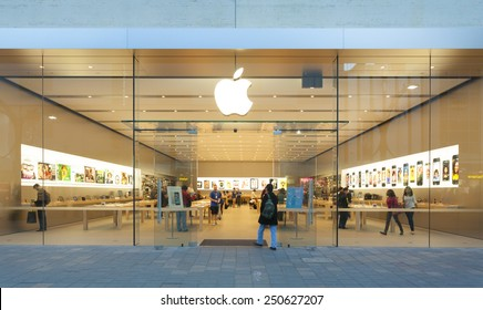 Adelaide, Australia - September 23, 2013: Apple Store in Adelaide, Australia, with pedestrians passing by outside the store. It is the first Apple Store in South Australia. It is located at Rundle