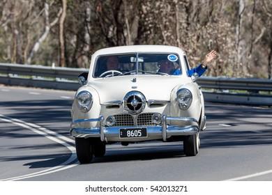 Adelaide, Australia - September 25, 2016: Vintage 1950 Studebaker Champion Sedan driving on country roads near the town of Birdwood, South Australia.