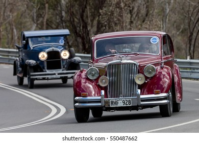 Adelaide, Australia - September 25, 2016: Vintage 1950 Jaguar MkV Sedan driving on country roads near the town of Birdwood, South Australia.