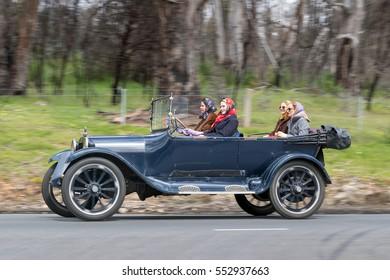 Adelaide, Australia - September 25, 2016: Vintage 1918 Dodge Tourer driving on country roads near the town of Birdwood, South Australia.