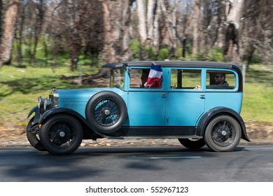 Adelaide, Australia - September 25, 2016: Vintage 1928 Delage D.I.C Saloon driving on country roads near the town of Birdwood, South Australia.