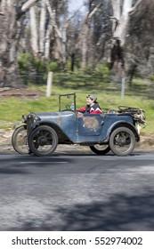 Adelaide, Australia - September 25, 2016: Vintage 1928 Austin 7 Tourer driving on country roads near the town of Birdwood, South Australia.