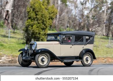 Adelaide, Australia - September 25, 2016: Vintage 1929 Chevrolet Sedan Tourer driving on country roads near the town of Birdwood, South Australia.