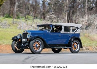 Adelaide, Australia - September 25, 2016: Vintage 1928 Buick Standard 6 Tourer  driving on country roads near the town of Birdwood, South Australia.