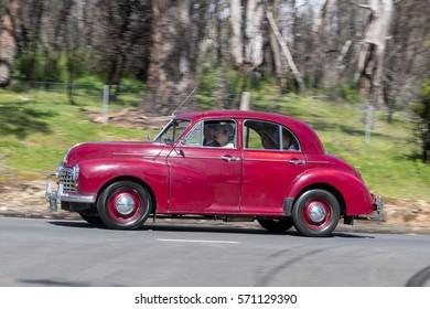 Adelaide, Australia - September 25, 2016: Vintage 1951 Morris Oxford Saloon driving on country roads near the town of Birdwood, South Australia.