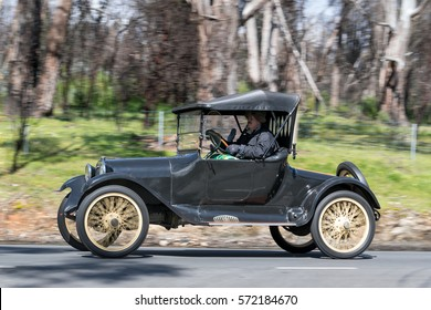 Adelaide, Australia - September 25, 2016: Vintage 1916 Dodge Roadster driving on country roads near the town of Birdwood, South Australia.