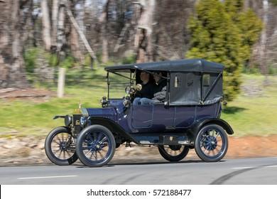 Adelaide, Australia - September 25, 2016: Vintage 1915 Ford Model T Tourer driving on country roads near the town of Birdwood, South Australia.