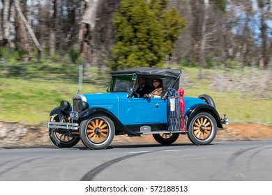 Adelaide, Australia - September 25, 2016: Vintage 1927 Chevrolet Capitol Roadster driving on country roads near the town of Birdwood, South Australia.
