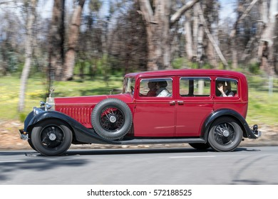 Adelaide, Australia - September 25, 2016: Vintage 1925 Rolls Royce Phantom driving on country roads near the town of Birdwood, South Australia.