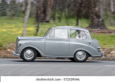 Adelaide, Australia - September 25, 2016: Vintage 1952 Triumph Mayflower Saloon driving on country roads near the town of Birdwood, South Australia.