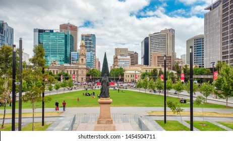 Adelaide CBD, Australia - November 18, 2017: Victoria Square with people after Christmas Pageant celebration on a day viewed towards north