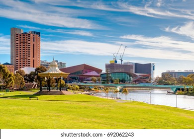 Adelaide city skyline on a day viewed through Elder Park on a bright day