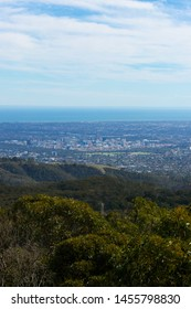Adelaide city skyline view from Mt Lofty summit.