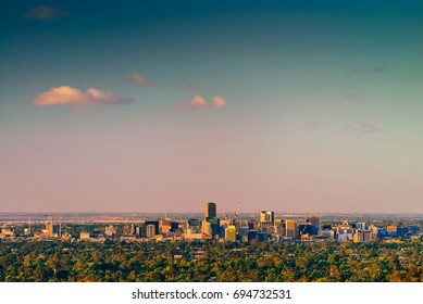 Adelaide city skyline viwed from the hills at sunset