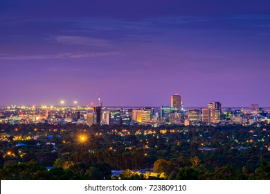 Adelaide city twilight view from the hills, South Australia