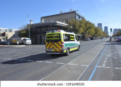ADELAIDE - MAY 06 2019:SA Emergency Ambulance.SA Health provide clinical care and patient transport services to over 1.5 million people, across an area of 1,043,514 km2 in South Australia, Australia.