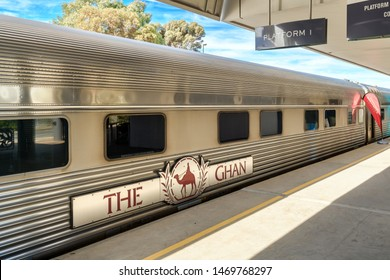 Adelaide Parklands Terminal, South Australia - August 4, 2019: The Ghan train ready to depart for its 90th anniversary special service from Adelaide to Darwin through Alice Springs