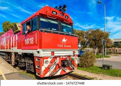 Adelaide Parklands Terminal, South Australia - August 4, 2019: The Ghan train engine ready to depart for its 90th anniversary special service from Adelaide to Darwin through Alice Springs