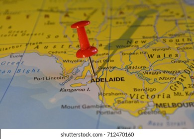 Adelaide pinned on a map, Australia