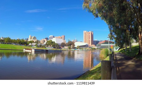 Adelaide Riverbank City skyline from across the Torrens River riverbank.