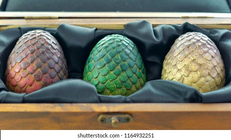Adelaide, South Adelaide - August 22, 2018: Games of Thrones HBO authorized replica of Dragon's Eggs in wooden case, on white background.