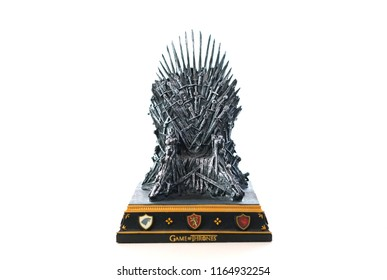 Adelaide, South Adelaide - August 22, 2018: Games of Thrones HBO authorized replica of the Iron Throne on white background.