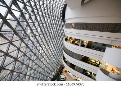 Adelaide, South Australia - 09.05.18: SAHMRI center in Adelaide CBD. The South Australian Health and Medical Research Institute is a modern architectural marvel.