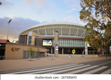 ADELAIDE, SOUTH AUSTRALIA - 14 August 2014: The South Gate entrance to the redeveloped Adelaide Oval which was completed in March 2014.