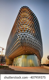 Adelaide, South Australia - 24 February 2015: A portrait view of the amazing SAHMRI building which is Adelaideâ??s flagship health and medical research institute located on North Terrace.