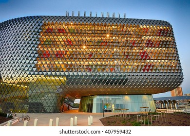 Adelaide, South Australia - 24 February 2015: A horizontal view of the amazing SAHMRI building which is Adelaideâ??s flagship health and medical research institute located on North Terrace.