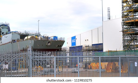 Adelaide, South Australia - April 23, 2017: Air warcraft destroyer construction at the Australian Submarine Corporation for the Royal Australian Navy in Osborne dock at Port Adelaide, handheld.